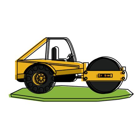 steamroller heavy machinery construction icon image vector illustration design Illustration