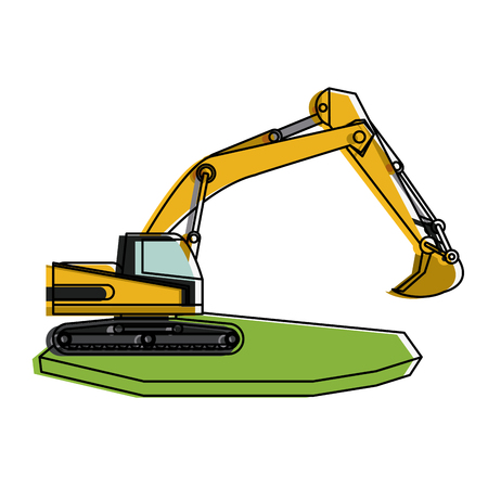 earth mover: backhoe heavy machinery construction icon image vector illustration design Illustration