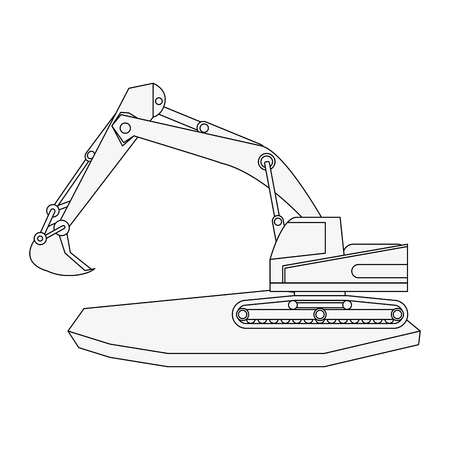 backhoe heavy machinery construction icon image vector illustration design  black line