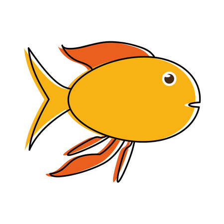 yellow fish sideview icon image vector illustration design