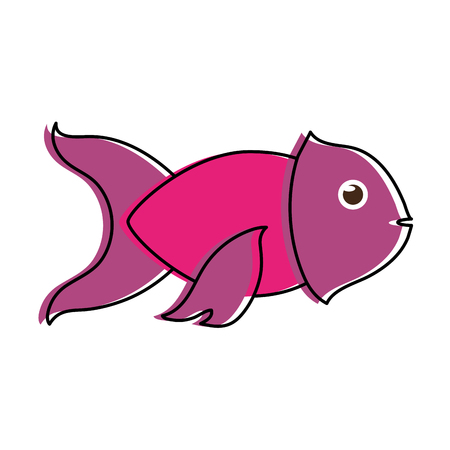 violet fish sideview icon image vector illustration design Illustration