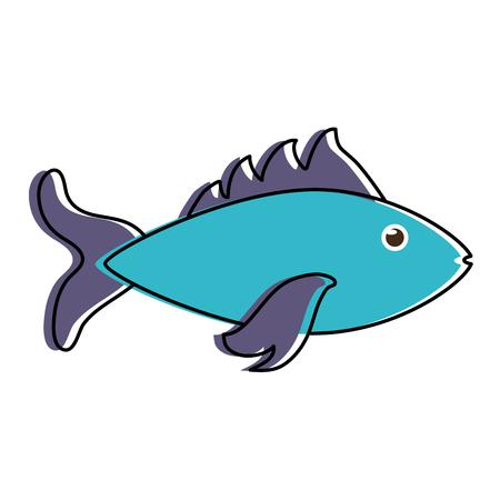 blue fish sideview icon image vector illustration design Illustration