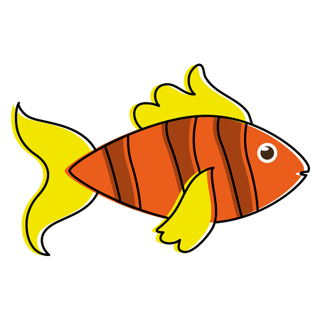 fish yellow orange sideview colorful icon image vector illustration design Ilustração