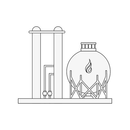 natural gas refinery icon image vector illustration design  black line