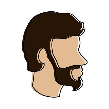 bearded man avatar head sideview icon image vector illustration design