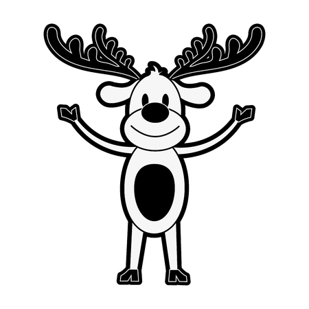reindeer rudolph lifting arms christmas related icon image vector illustration design  black and white