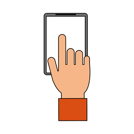 hand and cellphone icon image vector illustration design Illustration