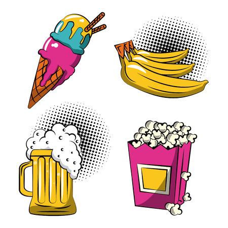 Food icons pop art icon vector illustration graphic design Illustration