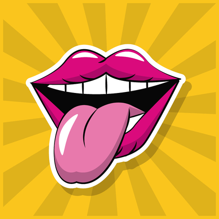 Tongue pop art icon vector illustration graphic design