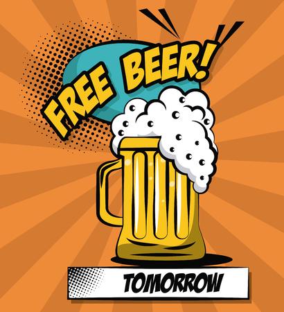Free beer pop art icon vector illustration graphic design Vector Illustration