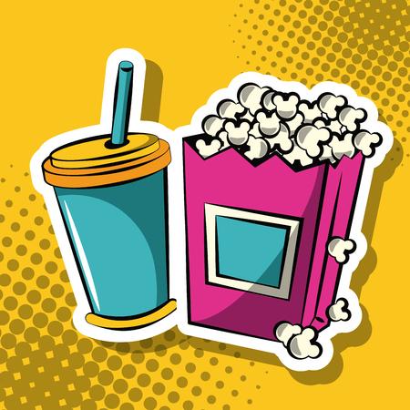 Soda and pop corn pop art icon vector illustration graphic design