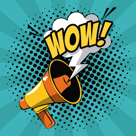 Bullhorn pop art icon vector illustration graphic design Illustration