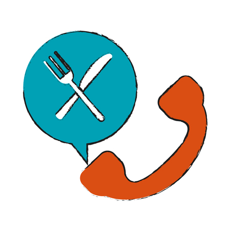 telephone with fork and knife food delivery related icon image vector illustration design