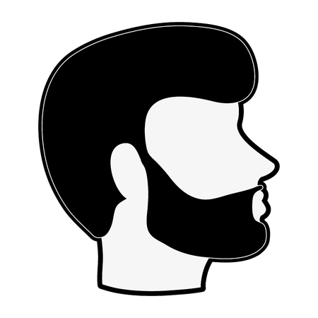bearded man avatar head sideview icon image vector illustration design  black and white