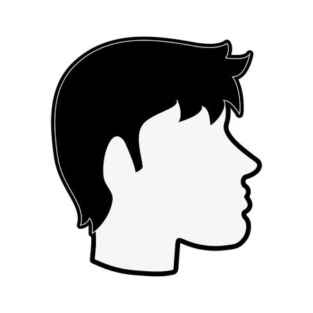 man avatar head sideview icon image vector illustration design  black and white Illustration