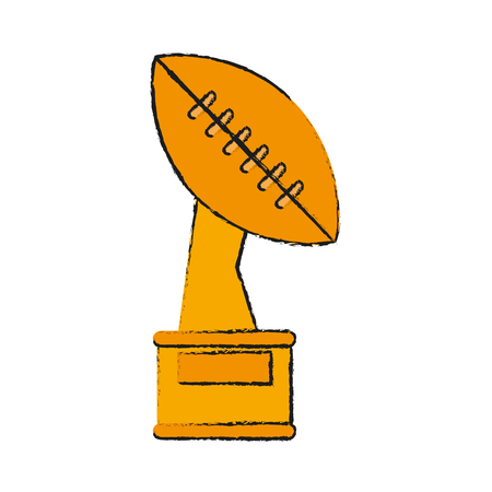 ball trophy american football related icon image vector illustration design
