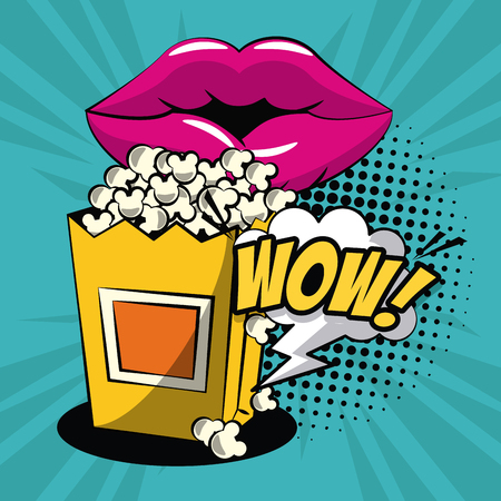 Pop corn in pop art icons icon vector illustration graphic design Illustration