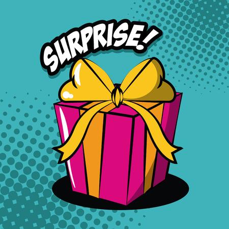 Gift box pop art icon vector illustration graphic design Illustration