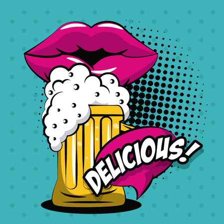 Beer pop art icon vector illustration graphic design