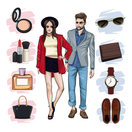 Young models with fashion clothes icon vector illustration graphic design Illustration