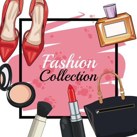 Women fashion accesories and make up frame icon vector illustration graphic design