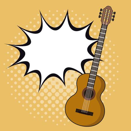 Guitar pop art icon vector illustration graphic design