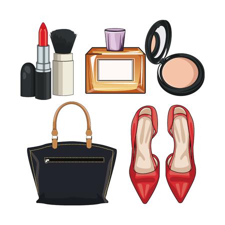Los accesorios de moda de las mujeres y componen el diseño gráfico del ejemplo del vector del icono