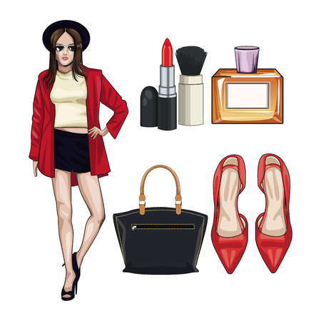 Women fashion accesories and make up icon vector illustration graphic design