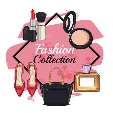 Los accesorios de moda de las mujeres y componen el diseño gráfico del ejemplo del vector del icono Ilustración de vector