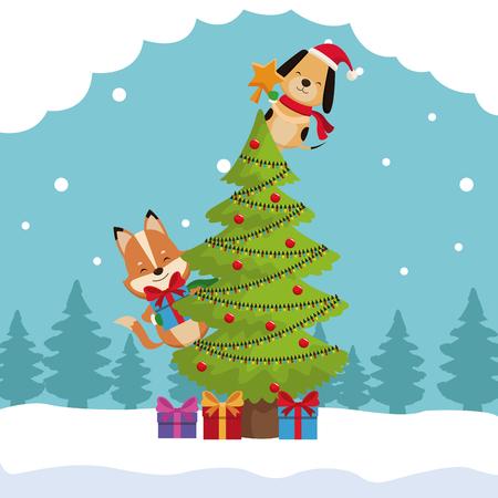 Progettazione grafica dell'illustrazione di vettore dell'icona del fumetto della carta di Buon Natale Archivio Fotografico - 88372536