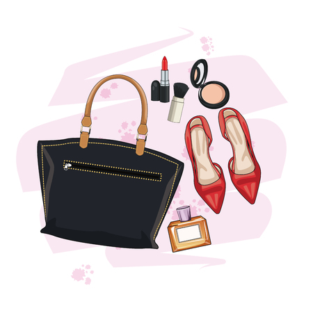 make up model: Women fashion accesories and make up icon vector illustration graphic design