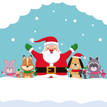 Merry Christmas card cartoon icon vector illustration graphic design Illustration