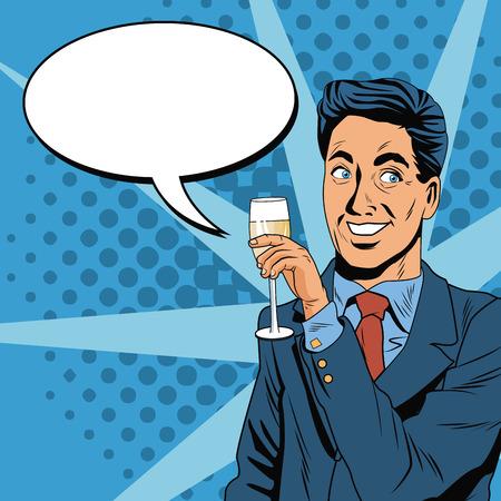 Businessman pop art icon vector illustration graphic design Illustration