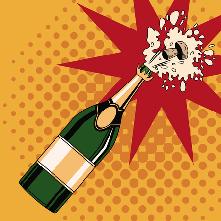 Champagne toast pop art icon vector illustration graphic design 일러스트