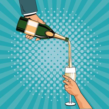 Champagne toast pop art icon vector illustration graphic design Illustration