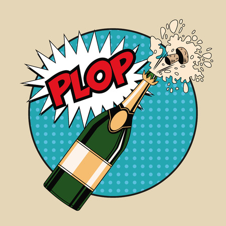 rounds: Champagne toast pop art icon vector illustration graphic design Illustration