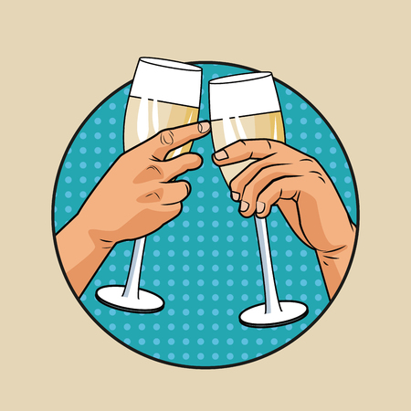 Champagne toast pop art icon vector illustration graphic design Vector Illustration