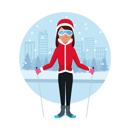 Woman with skis icon vector illustration graphic design