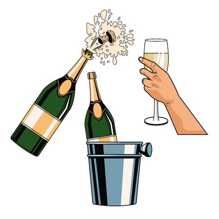 Champagne toast pop art icon vector illustration graphic design Stock Illustratie
