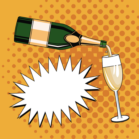 Champagne pop art icon illustration graphic design.