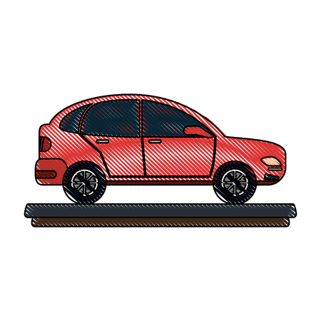 red parked car sideview icon image vector illustration design