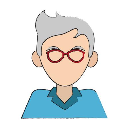 elderly man wearing glasses avatar portrait icon image vector illustration design Illustration