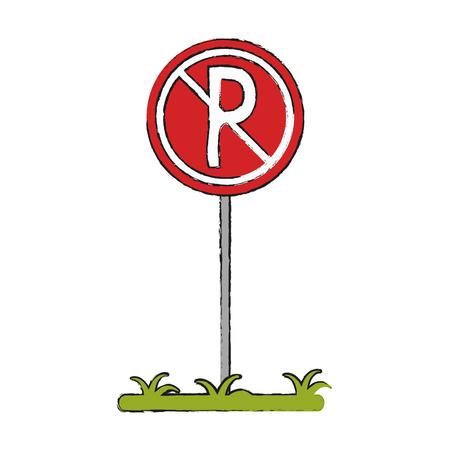 no parking zone forbidden not allowed icon image vector illustration design Vektoros illusztráció