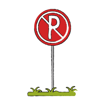 no parking zone forbidden not allowed icon image vector illustration design