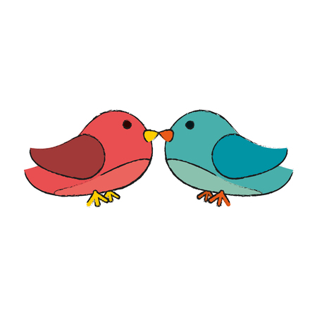 lovebirds heart icon image vector illustration design
