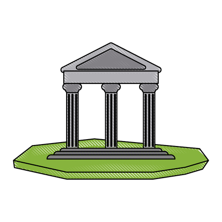 roman pillar: ancient greek building on floating land icon image vector illustration design Illustration