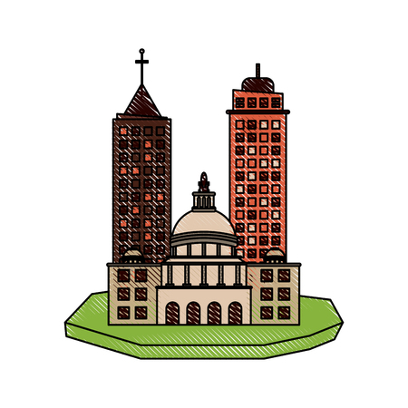 floating: city on floating land icon image vector illustration design