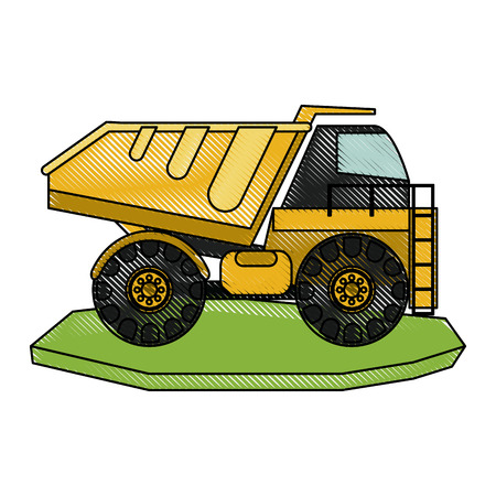 dump truck heavy machinery construction icon image vector illustration design