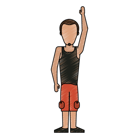 man wearing tank top and cargo shorts avatar full body icon image vector illustration design Illustration