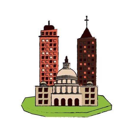 condominium: city on floating land icon image vector illustration design